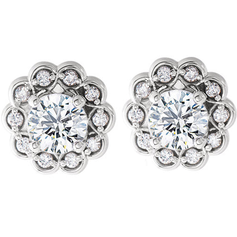 5/8ct Diamond Halo Vintage Studs 14k White Gold 7.8mm Wide