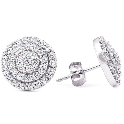 1ct Pave Diamond Double Halo Cluster Studs 10K White Gold