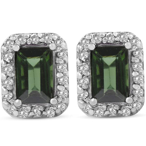 1 3/8ct Emerald Shape Green Tourmaline Pave Halo Diamond Studs 14K White Gold