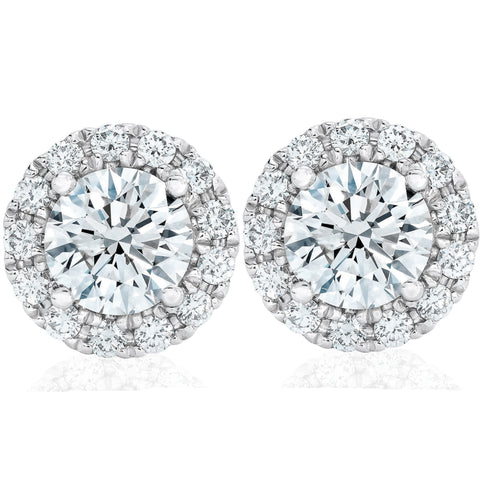 SI 2 1/2ct Halo Diamond Studs Solid 14K White Gold Enhanced