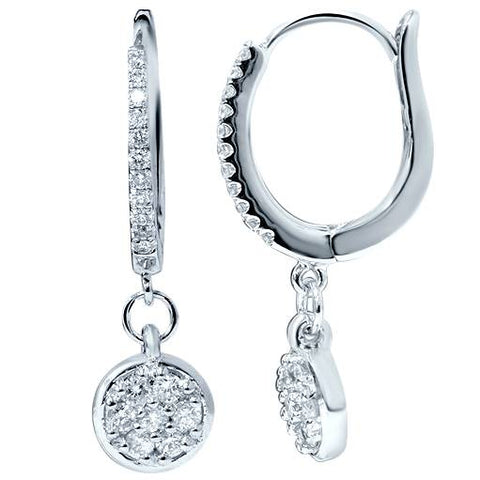 "3/8ct Lab Created Diamond Hoops Pave Dangle Earrings 18K White Gold 1"" Tall"