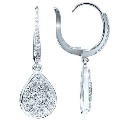 "1 1/8ct Lab Created Diamond Hoops Dangle Pear Shape 18K White Gold 1 1/4"" Tall"