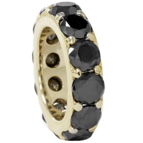 12 1/2ct Treated Black Diamond Eternity Ring 14K Yellow Gold