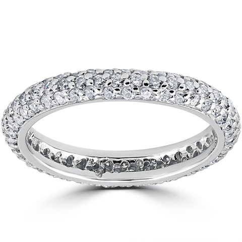 1 1/10ct Pave Diamond Eternity Ring 14K White Gold