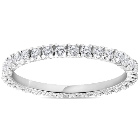 5/8 cttw Diamond Eternity Ring Womens Stackable Round 14k White Gold Band