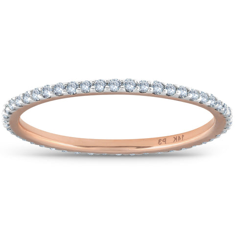.40 Ct Diamond Eternity Ring 14k Rose Gold Womens Stackable Wedding Band