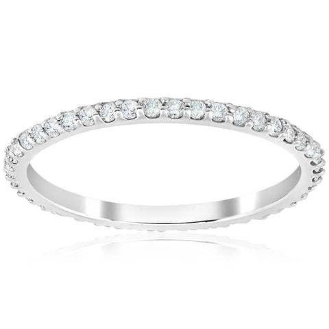 .40 Ct Diamond Eternity Ring 14k White Gold Womens Stackable Wedding Band