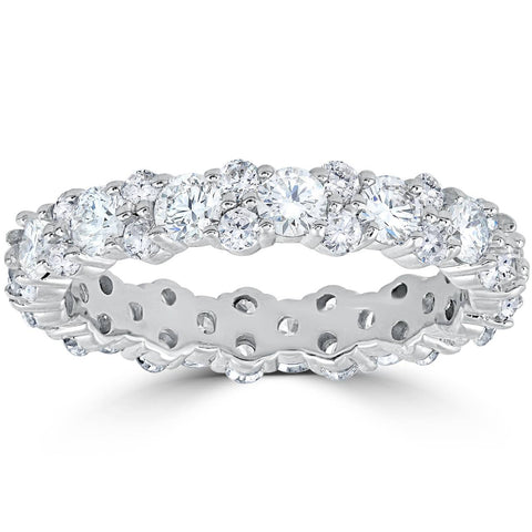 1 7/8 cttw Diamond Eternity Wedding Ring Womens Stackable Band 14k White Gold