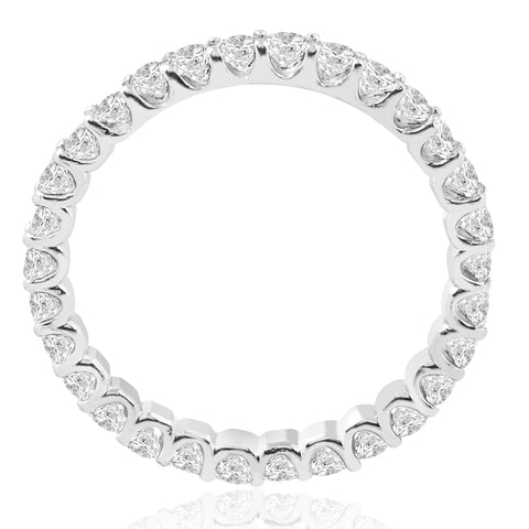 1 1/2 cttw Diamond Eternity U Prong Ring Womens Stackable 14k White Gold Band