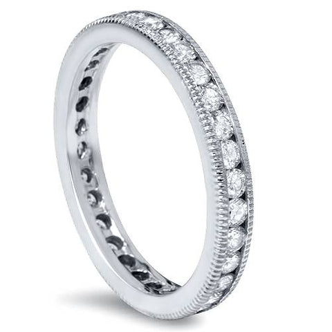 Women's 1ct Channel Set Diamond Eternity Ring  With Milgrain 14K White Gold