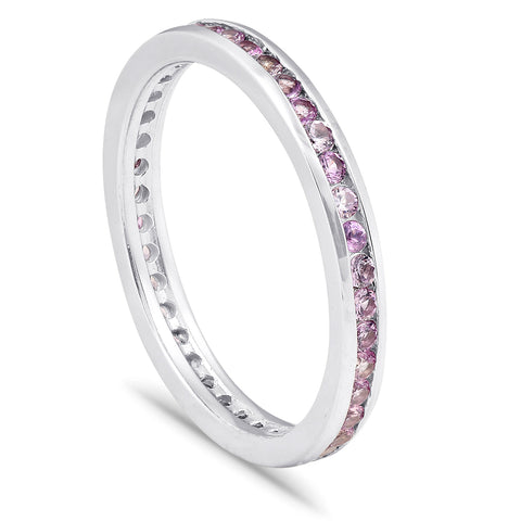 5/8ct Pink Sapphire Stackable Ring Solid 14K White Gold