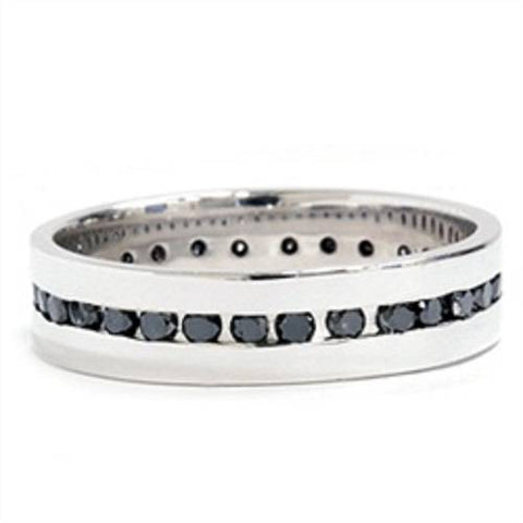 1 1/4ct Channel Set Black Diamond Eternity Ring 10K White Gold