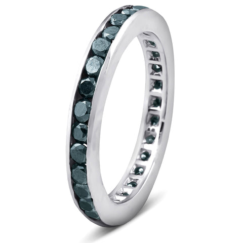 1 1/2ct Treated Black Diamond Channel Set Eternity Ring 14K White Gold