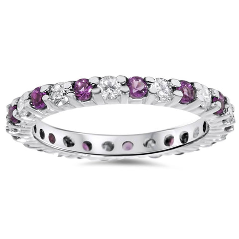 1 1/2ct Diamond & Amethyst Eternity Stackable Ring 14K White Gold