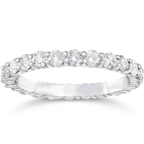 Stackable Diamond Eternity Ring 1 1/2ct Diamond Wedding Ring 14K White Gold