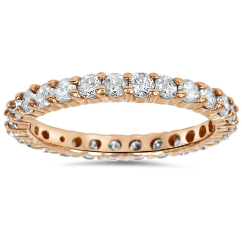 1 1/2ct Diamond Eternity Wedding Ring 14K Rose Gold