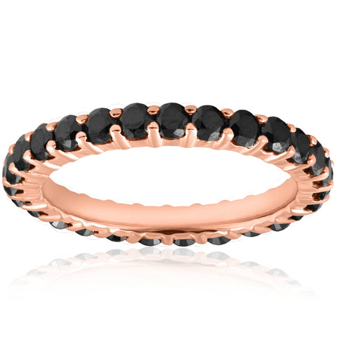 1 1/2 cttw Womens Stackable Round Black Diamond Eternity Ring 14 karat Rose Gold