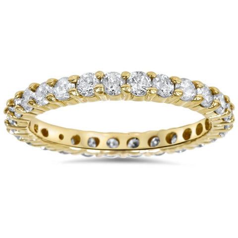 1 1/2ct Stackable Diamond Eternity Ring 14K Yellow Gold