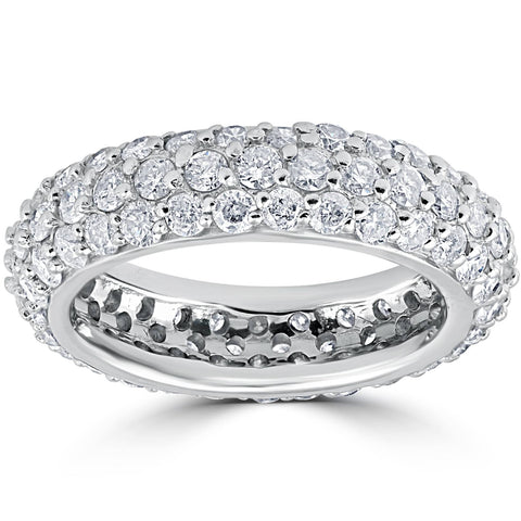 2 1/6ct Pave Diamond Eternity Wedding Anniversary Ring 14k White Gold