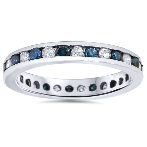 1ct Blue & White Diamond Eternity Guard Ring 14K White Gold