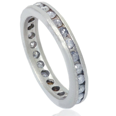 1 1/2ct Gray Diamond Channel Set Eternity Ring 14K White Gold
