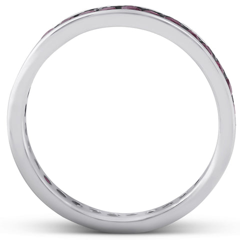 1 1/10ct Ruby Channel Set Eternity Ring 14K White Gold Womens Wedding Band