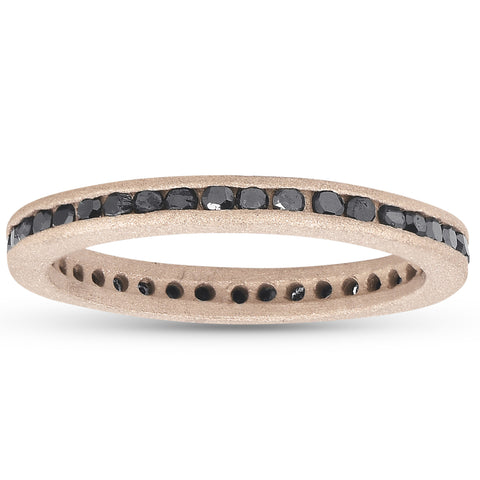 1/2ct Black Diamond Channel Set Brushed Finish Eternity Ring 14K Rose Gold
