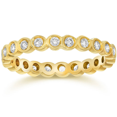 3/4Ct Genuine Diamond Bezel Eternity Stackable Band Wedding 14K Yellow Gold