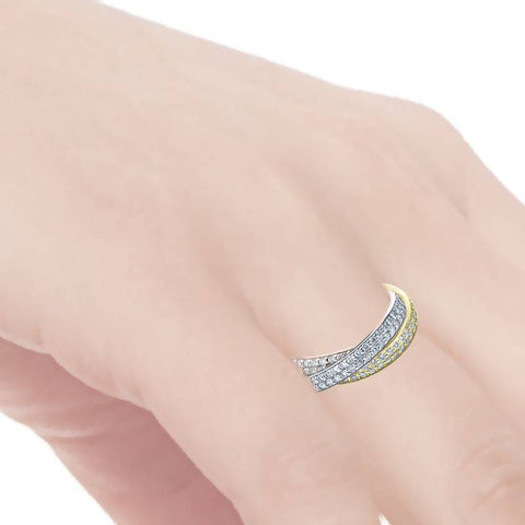 Tri Gold 2 5/8ct Rolling Ring Diamond Eternity Band