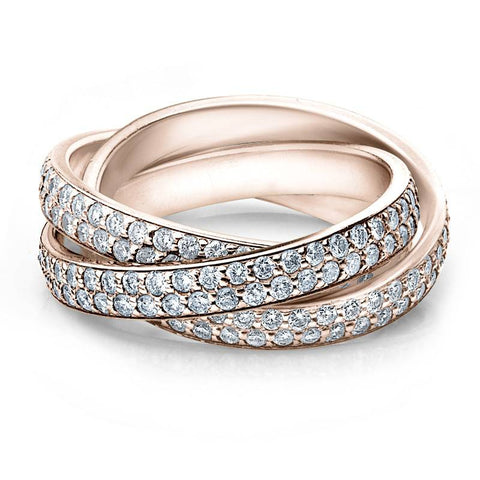 2 3/4ct Rolling Ring Diamond Pave Eternity 14K Rose Gold