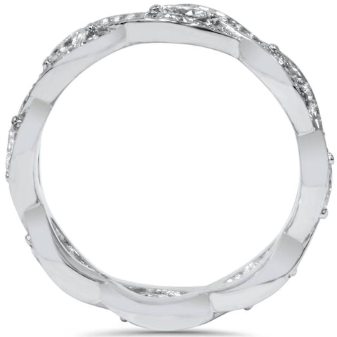3/4ct Marquise & Round Diamond Infinity Eternity Ring 14K White Gold
