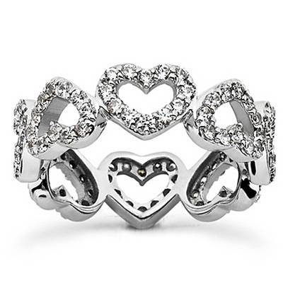 1 5/8ct Heart Shape Diamond Eternity Ring 14K White Gold