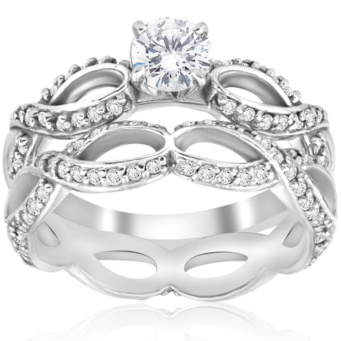 1 1/2ct Diamond Infinity Eternity Engagement Wedding Jewelry Ring Set White Gold