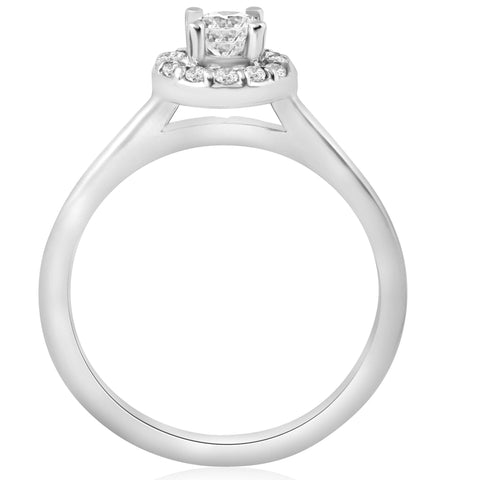 1/2ct Round Diamond Halo Engagement Ring 14K White Gold Solitaire Jewelry Round