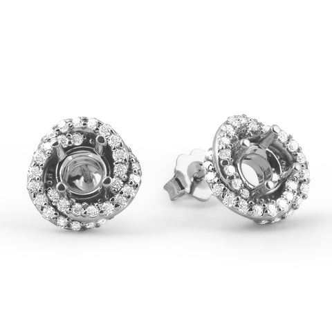 G/SI .75ct Diamond Halo Studs Spiral Mounting Fits 4.5-5.5mm 14k White Gold