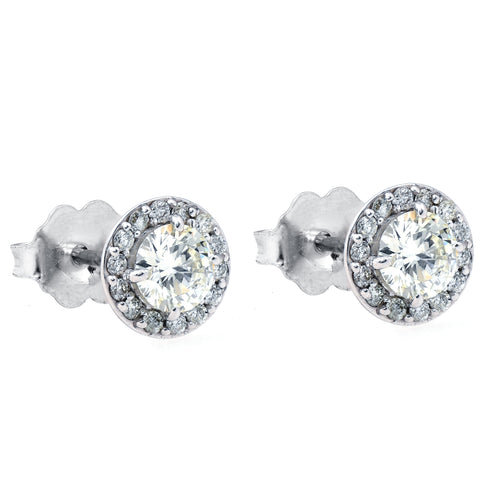 3/4ct Halo Diamond Studs 14k White Gold 6.2mm wide