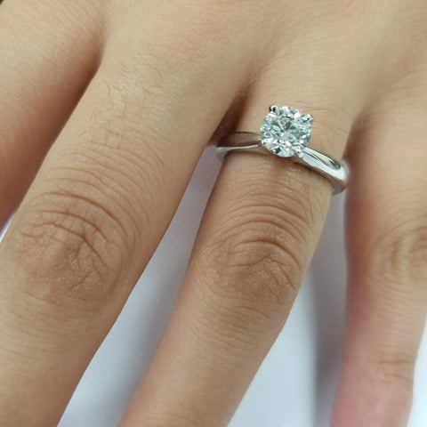 G/I1 1 ct Diamond Solitaire Round Brilliant Cut Natural Real 14k White Gold sz7