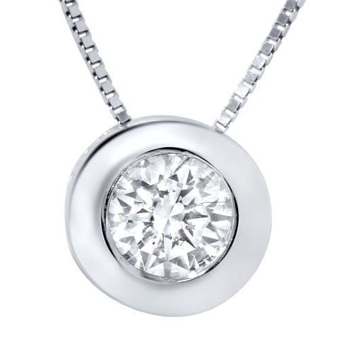 3/4ct IGI Certified Diamond Bezel Solitaire Pendant Round Brilliant Box Chain