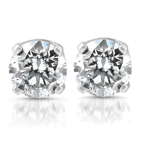 1.80 cttw Round Cut Diamond Studs 14K White Gold