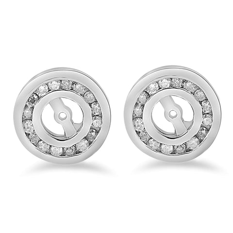 1/2 cttw Diamond Earring Jackets 14K White Gold Fitis 1/4ct Stones
