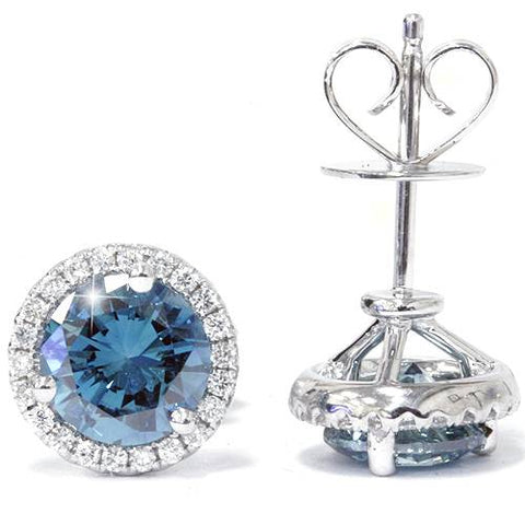 2 1/10ct Blue & White Diamond Halo Studs 10K White Gold