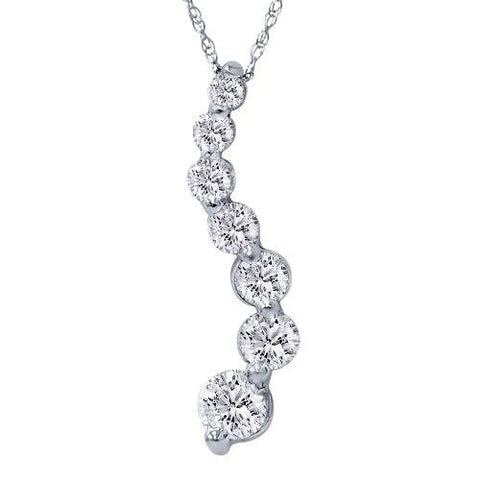 2ct HUGE Diamond Journey Pendant 14K White Gold