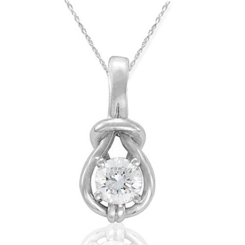 1/3ct Real Diamond Solitaire Everlong Knot Round Pendant 14K White Gold Karat