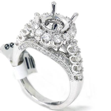 1. 34ct VVS Fancy Pave Diamond Semi Mount Setting Ring