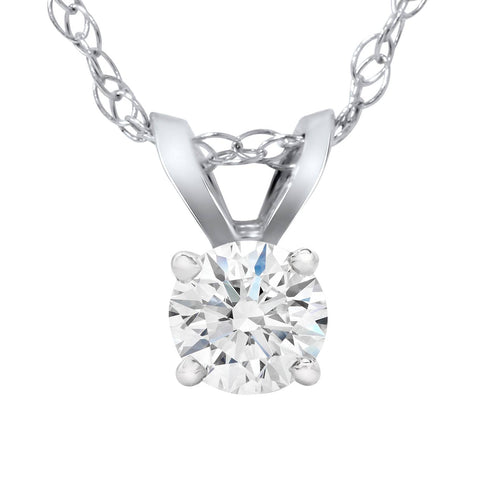1/4 Carat Solitaire Lab Created Diamond Pendant 14K White Gold