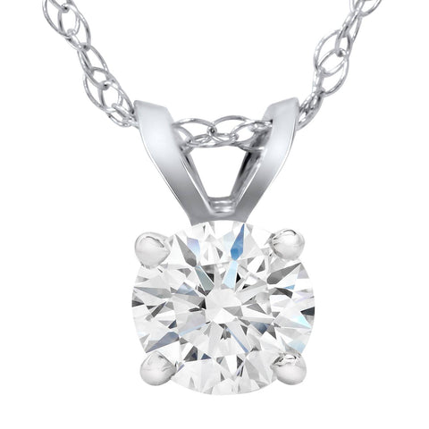 G/VS 5/8ct 100% Diamond Round Solitaire Pendant 14K White Gold Lab Grown