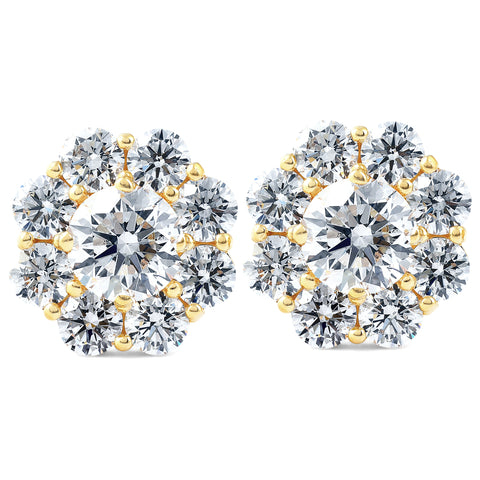 VS/G 3Ct Diamond Halo Studs 14k Yellow Gold EX3 Lab Grown