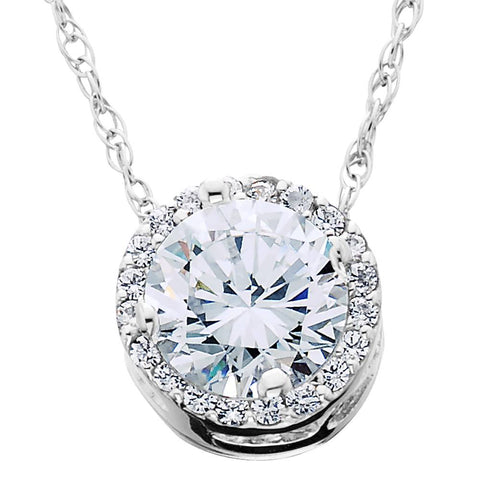 1/2ct Round Diamond Pave Halo Fancy Solitaire Pendant