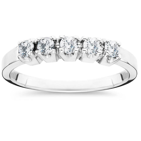 1/4ct 5 Stone Diamond Wedding Band Ring Solid 14K White Gold