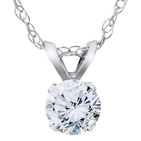 1/2ct Solitaire Round Diamond Pendant 14K White Gold